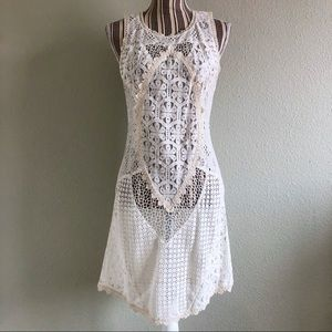 Ladakh Crocheted Lace Sheath Dress Cream 6